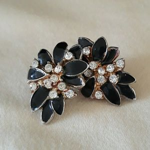 Vintage Fashion Earrings | Black Gold Rhinestones